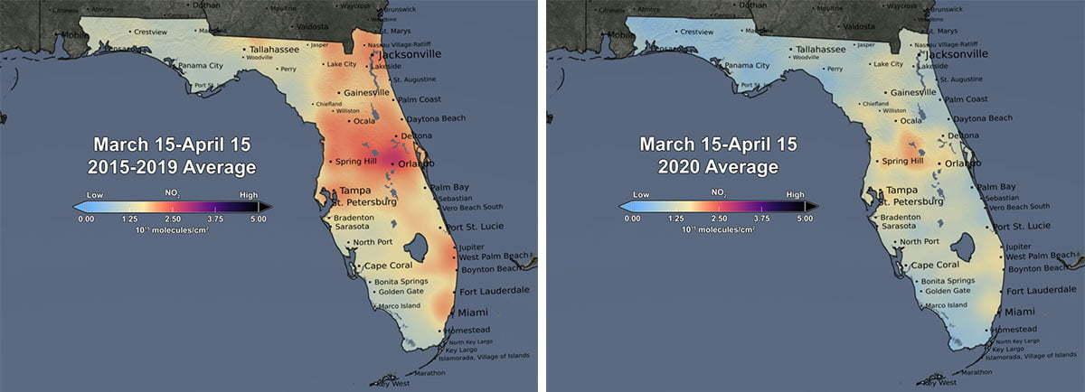 Średnie stężenie dwutlenku azotu nad Florydą w okresie 15 marca - 15 kwietnia 2015-2019 i 15 marca - 15 kwietnia 2020; źródło: Scientific Visualization Studio